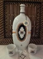 Hollóházi porcelán pálinkás butella,kulacs,kiöntő,italos készlet Szatmári szilva palack +2 db kupica