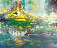 """""""Arany híd"""" eredeti kortárs festmény,vászon,szignózott"""