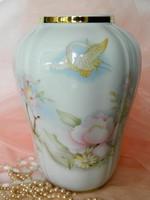 Szépséges selymes tapintású Wunsiedel porcelán váza, virág-madár