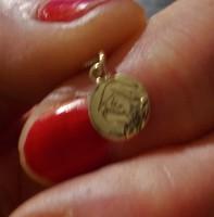 Nagyon finom nagyon elegáns Peyer András ötvösmester lánc vésett Mária fej 14 K arany medállal