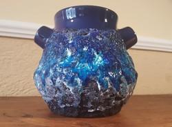 Égetett kék mázas iparművészeti váza
