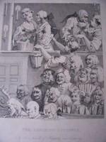W. Hogarth XVIII. századi szatirikus politikai témájú metszete keretezve, üveg alatt