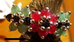 925 ezüst gyűrű zafír, rubin, smaragd 18,3/57,5 mm