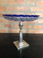 Ezüst kínáló kék-fehér kristály tállal