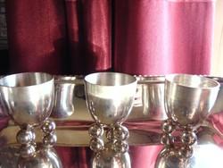 3 db ezüstözött pálinkás pohárka