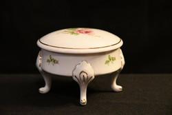 Hollóházi Royal Martin talpas bonbonier rózsa dekorral - körben aranyozva