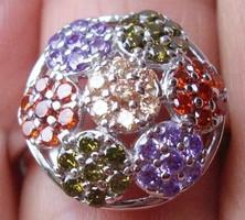 925 ezüst gyűrű, 17,3/54,3 mm, ametiszt, morganit, peridot, gránát
