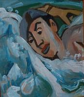 Úszó fiú - tempera festmény, szignált 1950-es évekből!