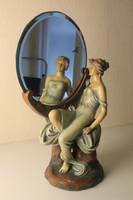 Szecessziós fajansz szobor, tükör