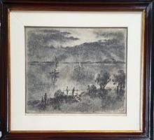 Kórusz József - Alkony a Balatonon 25 x 29 cm rézkarc 1959-ből