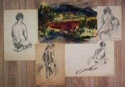 Juhász Erika (1926-2018) válogatás 4db rajz, plusz 1db akvarell. Minimum 2db szignós belőlük!