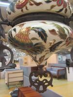 """Zsolnay petróleum lámpa, csillár 1880-1890-ből ,,TJM """" családi jelzéssel"""