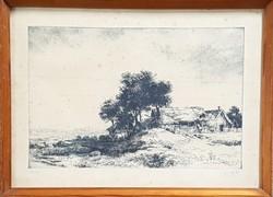 Görög Rezső - Tanya 26 x 39 cm rézkarc