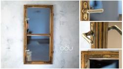 Vintage TÜKÖR, régi paraszt ablakból átalakítva. Újrahasznosított ablak. Design tükör.