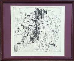 Pituk József Viktorián - Penelope 32 x 34 cm rézkarc