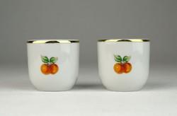 0U876 Hollóházi porcelán stampedlis pohár pár