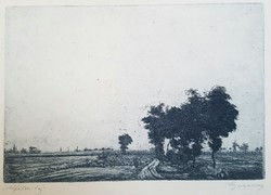 Barcsay Jenő - Alföldi táj 17 x 25 cm rézkarc