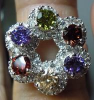 925 ezüst gyűrű 16,5/51,8, peridot, gránát, ametiszt, morganit, CZ