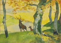 0U905 Ismeretlen festő : Szarvasok az erdőszélén