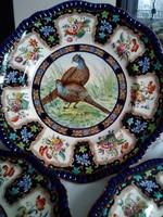 Antik angol Spode tányérok, kézzel festett madarakkal!