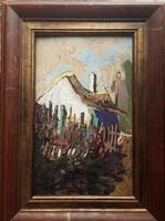 LITTECZKY ENDRE (1880 -1953): NAGYBÁNYA KVALITÁSOS NAGYON SZÉP OLAJKÉP AUKCIÓN 41 cm x 30 cm
