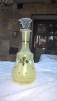 Szecessziós borosüveg dugóval-kiöntő-palack kézzel festve szép állapot