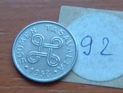 FINNORSZÁG 1 MÁRKA MARKKA 1958 92.