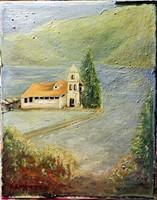 Art deco tájkép - kellemes jelzett olajfestmény
