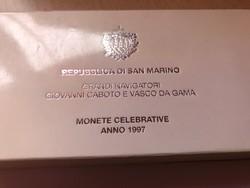 1997 San Marino ezüst 5000+1000 líra pár 18+22 gramm 0,835 Ritka!!!PP