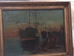 Emigráció - jelzett, olajvászon festmény, régi, értékes keretben
