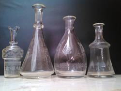 Csiszolt és metszett antik üveg kiöntők