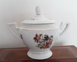 Régi porcelán nagy virágos cukortartó Schlaggenwald H.C. art deco bonbonier