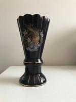 Mázas fajansz kerámia váza 24 cm magas