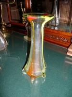 Szecessziós, színes hibátlan üveg váza 23 cm