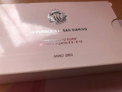 2002 San Marino ezüst 5+10 líra pár 18+22 gramm 0,925 Ritka!!!PP