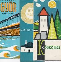 Kőszeg, Balatonszentgyörgy, Győr várostérképek az 1970-es évekből