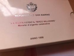 1998 San Marino ezüst 5000+1000 líra pár 18+22 gramm 0,835 Ritka!!!PP
