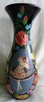 Régi, kézzel festett hatalmas gyönyörű hibátlan váza  39 cm