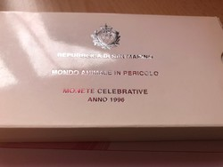 1996 San Marino ezüst 5000+1000 líra pár 18+22 gramm 0,835 Ritka!!!PP