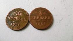 Bronz 1 Krajcárosok 1851 Gyulafehérvár