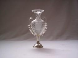 Antik díszüveg ezüst talppal