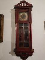 Antik szecessziós fali óra súlyos szerkezettel ... c2b21464a7