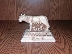 ROMULUST  és REMUST szoptató   nőstényfarkas szobor RÓMÁBÓL  MŰGYANTA  MAGASSÁG:11cm