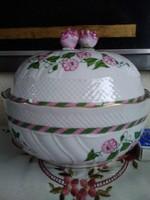 Hollóházi nagy porcelán bonbonier különleges mintával és színekkel!