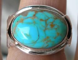 925 ezüst gyűrű 18,3/57,5 mm, kék türkizzel