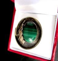 Ezüst MALACHIT köves gyűrű 8-as