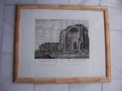 Antik római városkép, Vénusz templomának romjai, 1824-ben metszette Pietro Tarboni. Keretben.