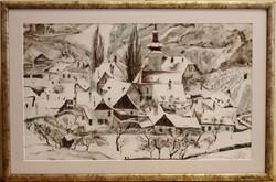 Igo Pötsch /1884-1943/ : Téli falu /Kahlenbergdorf,Ausztria/,színezett litográfia