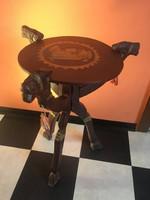 Mesés Teve - Tevés Faragott Fa Kör Asztalka Egyiptomi Asztal - Összecsukható háromlábú figurás