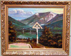 Antik olaj-vászon festmény